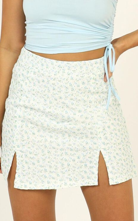 It All Matters Skirt In Blue Floral