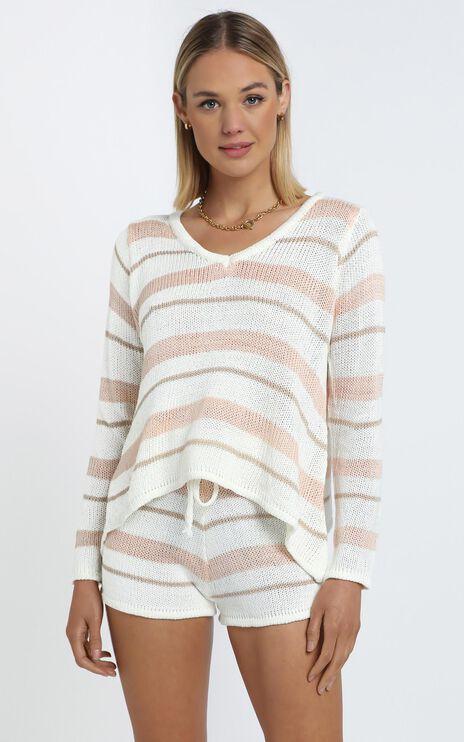 Callahan Knit Two Piece Set in Beige Stripe