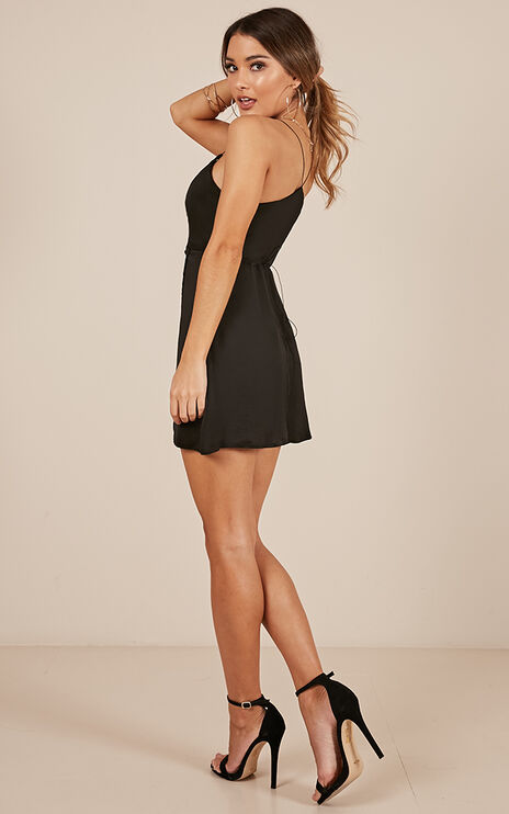 Slip It On Dress In Black Satin