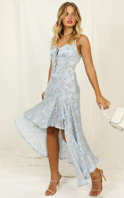 Never Forget Me dress in blue floral satin - 12 (L), Blue, hi-res image number null