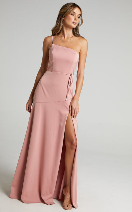 Find Your Tribe Dress in Peach Satin