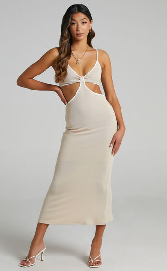 Amora Contrast Side Cut Out Dress in Cream