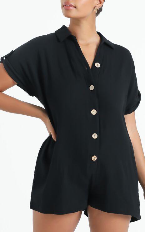 Reta Textured Playsuit In Black