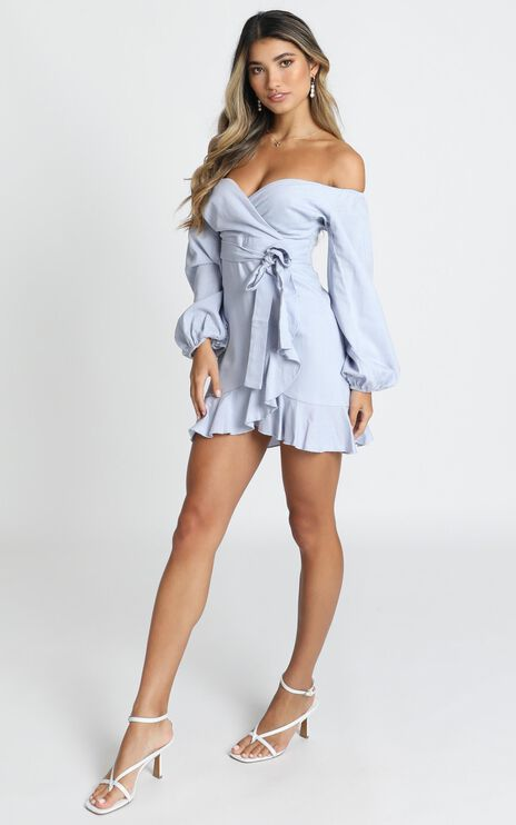 Cant Move On Dress In Powder Blue Linen Look