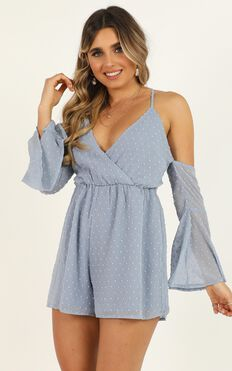 We Love Without Reason Playsuit in Dusty Blue