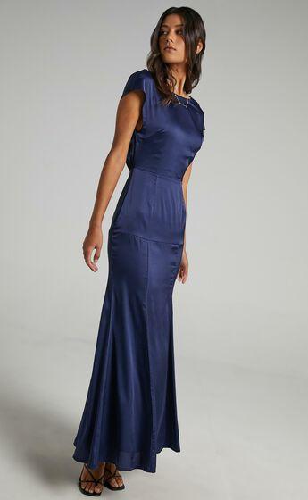 Nour Dress in Navy Satin