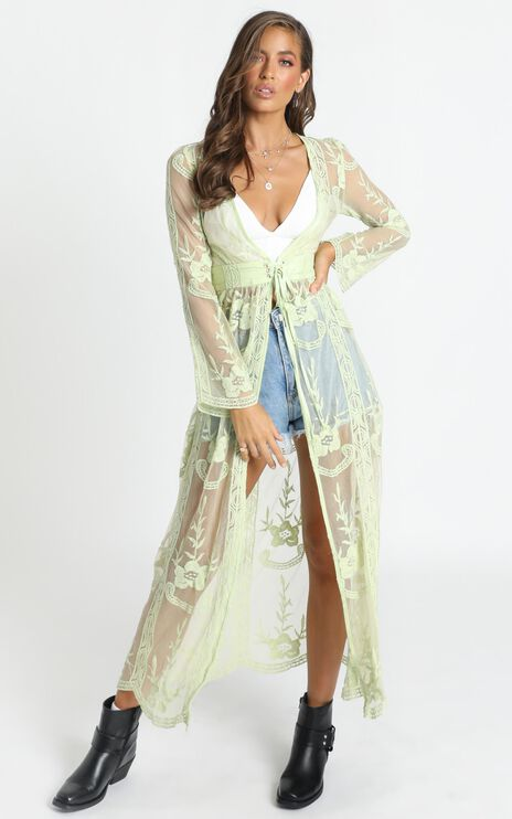 Looking In The Mirror Kimono In Green Lace