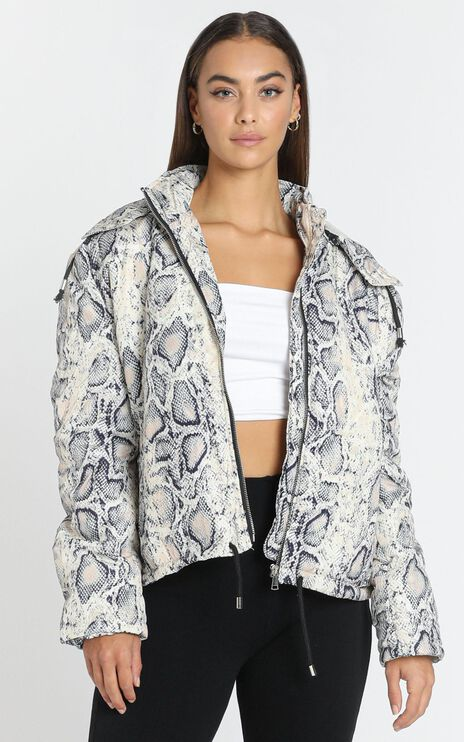 Gone Wild Padded Jacket in Snake Print