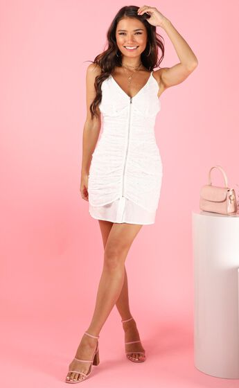 Lioness - My Sweetness Gathered Mini Dress in White