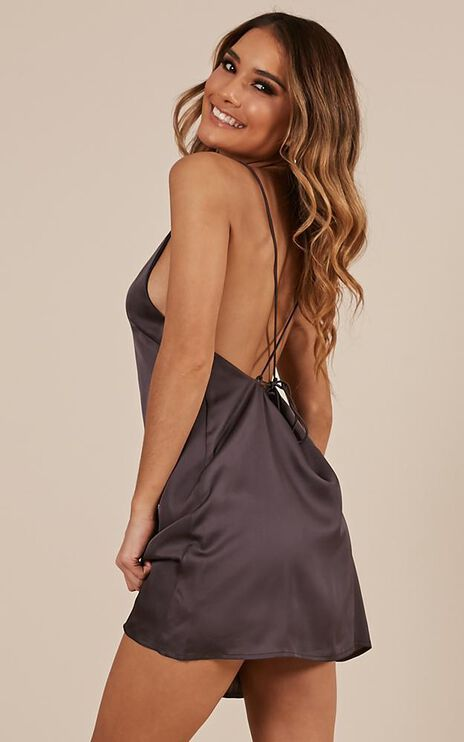 Mean So Much Dress In Charcoal Satin
