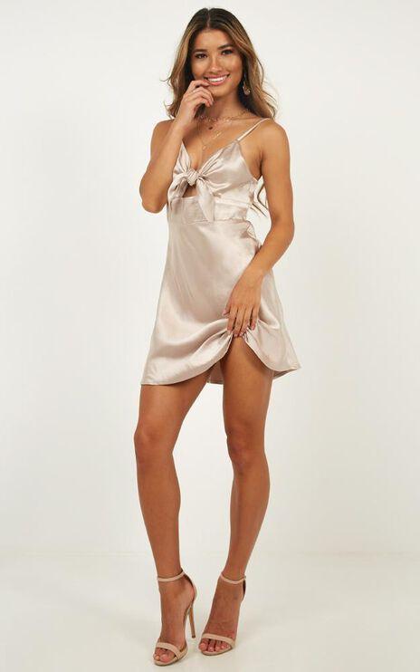 Dream Lover Dress In Champagne Satin