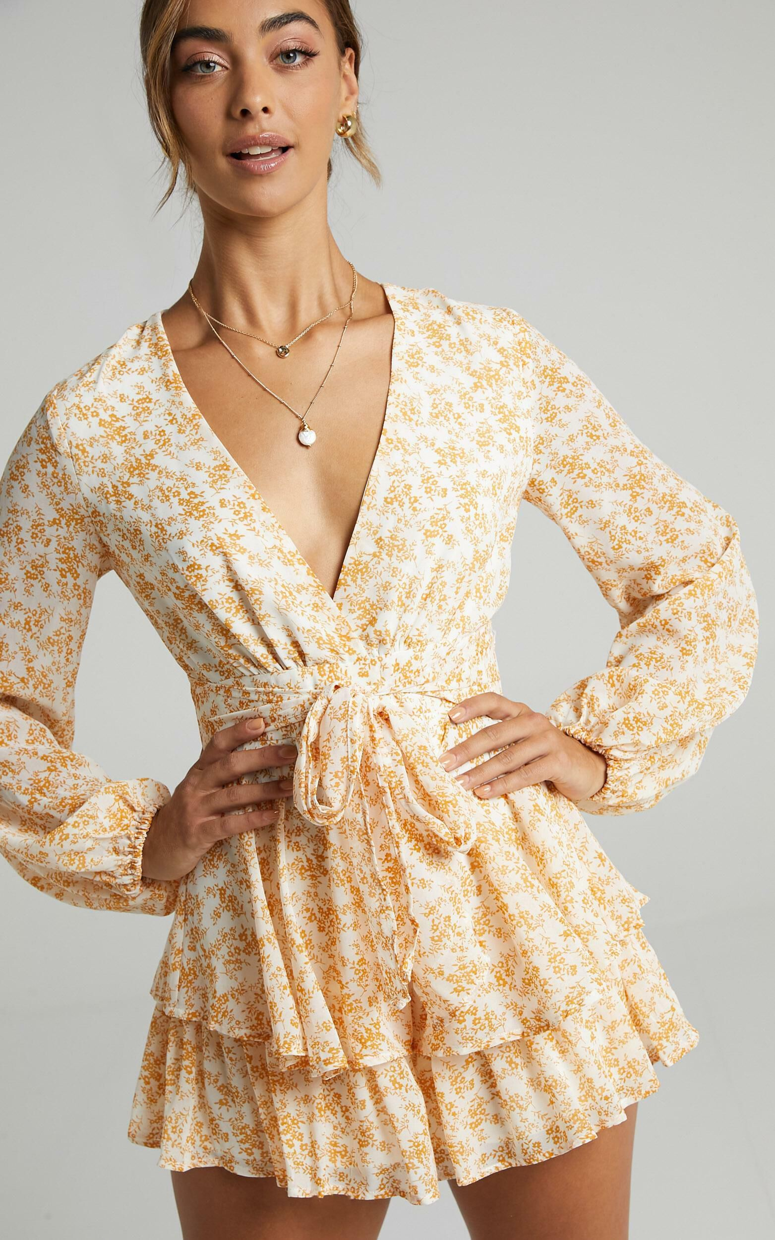 Monique Playsuit in Yellow Floral - 06, YEL3, super-hi-res image number null