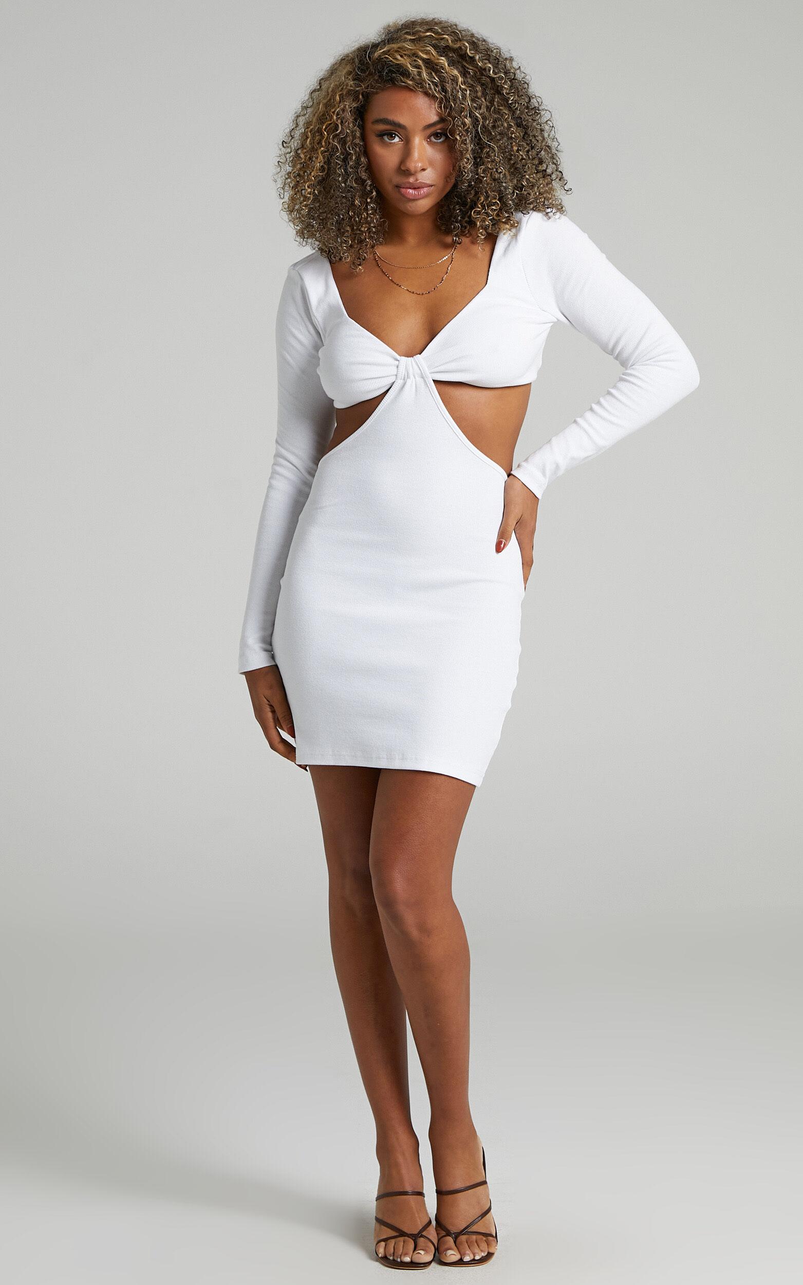 Blanchett Long Sleeve Mini Dress in Off White - 06, WHT2, super-hi-res image number null