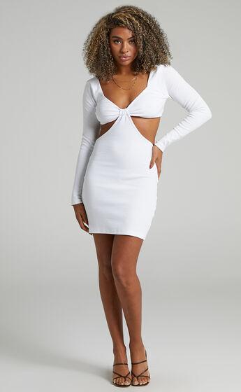 Blanchett Long Sleeve Mini Dress in Off White