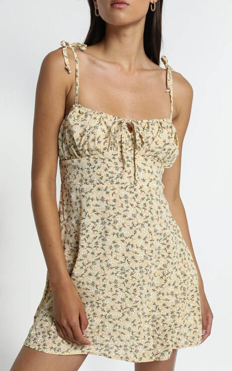 Fleur Dress in Yellow Floral