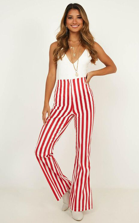 Wanderers Life Pants In Red Stripe