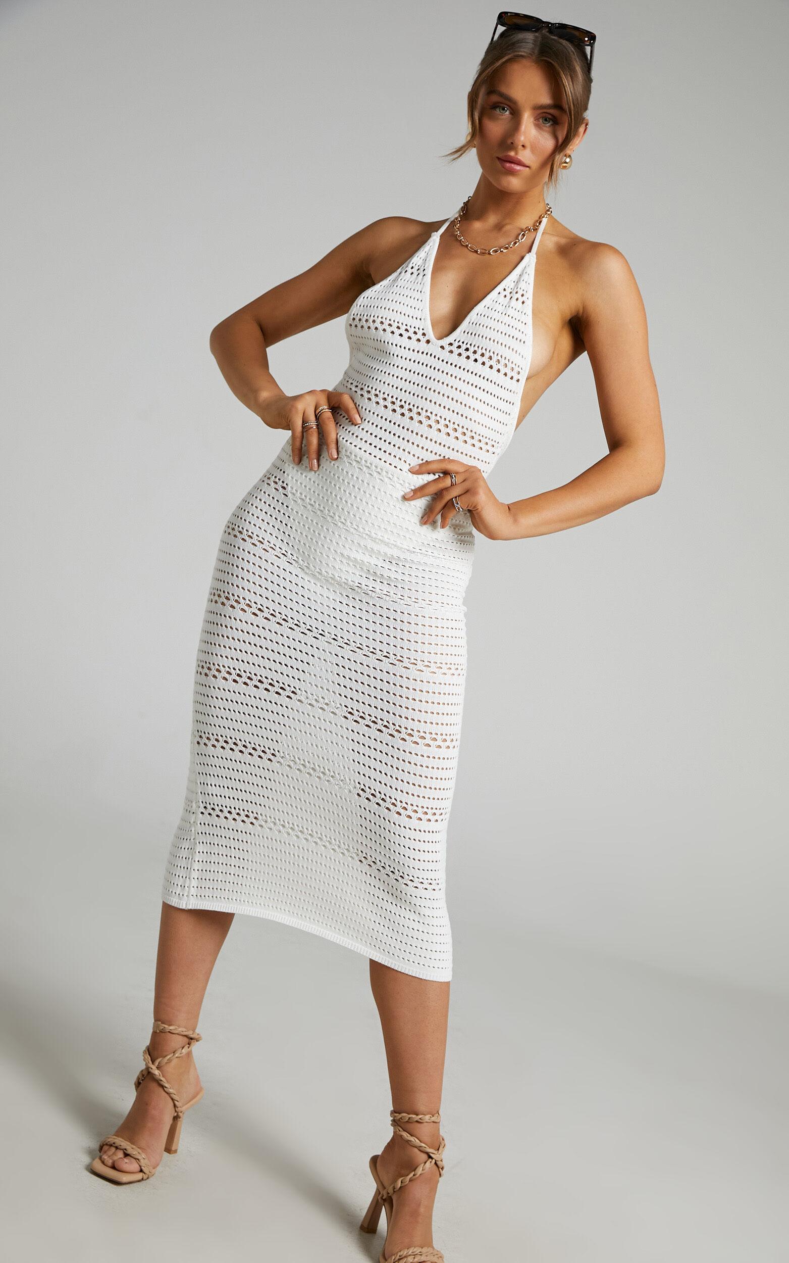 Abby Halterneck Crochet Midi Dress in Cream - 06, CRE2, super-hi-res image number null
