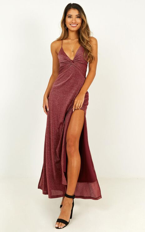 I Want To Stay Dress In Wine Lurex