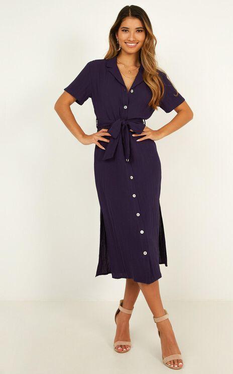Morning Stroll Dress In Navy Linen Look