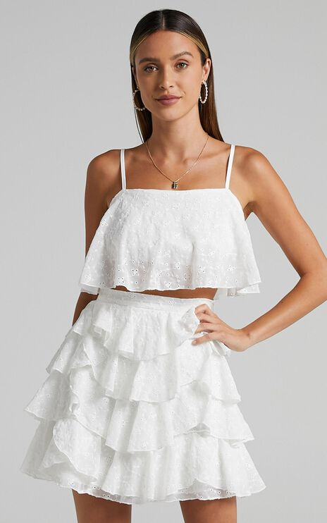 Juventas Two Piece Set in White Broderie