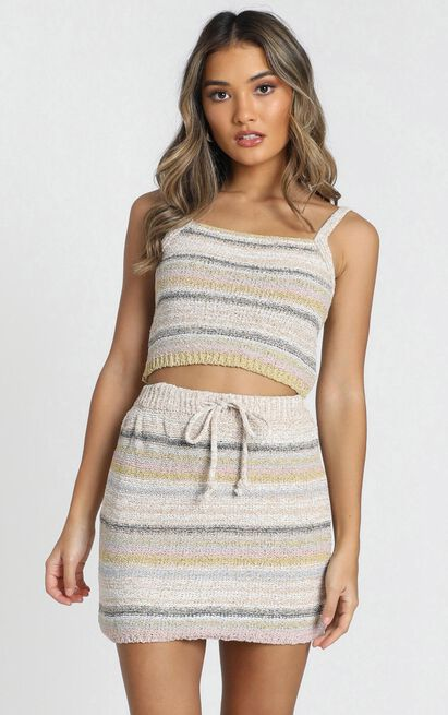 In Motion knit skirt in cream stripe - 16 (XXL), Cream, hi-res image number null