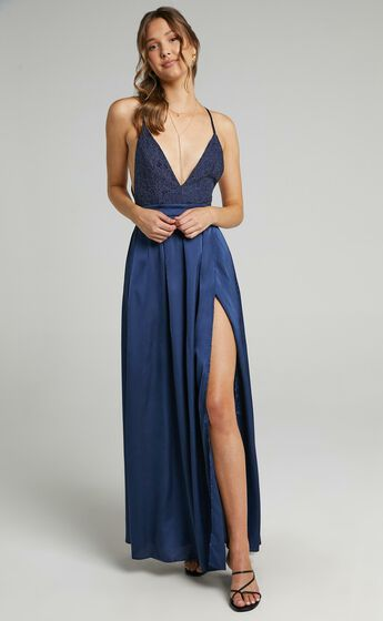 Inspired Tribe Plunge Neckline Thigh Split Maxi Dress in Navy