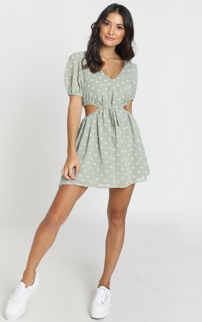 Take The Wheel dress in green spot - 6 (XS), Green, hi-res image number null