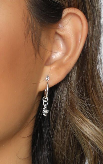 Minc Collections - Mini Cross Charm Hoop Earrings In Silver, , hi-res image number null