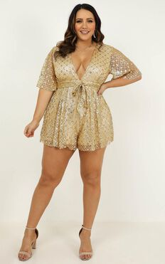 Say It To Me Playsuit In Gold Glitter