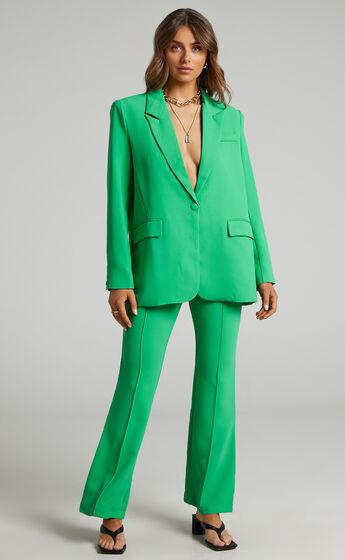 Michelle oversized plunge neckline Button Up Blazer in Green