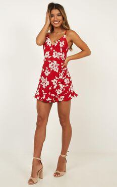 City Women Party Playsuit In Red Floral