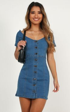I Know You Care Denim Dress In Light Wash
