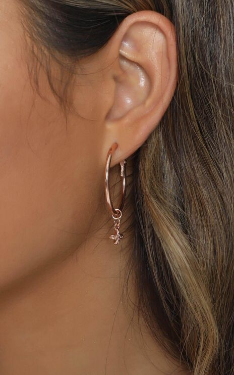 Minc Collections - Cross Charm Hoop Earrings in Rose Gold