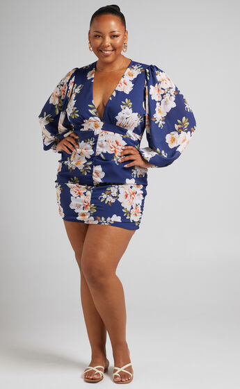 Latiana Ruched Plunge Neck Mini dress in Royal Floral