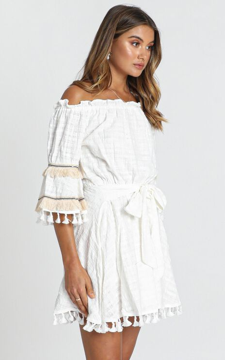 Gianna Trim Detail Bardot Dress In White