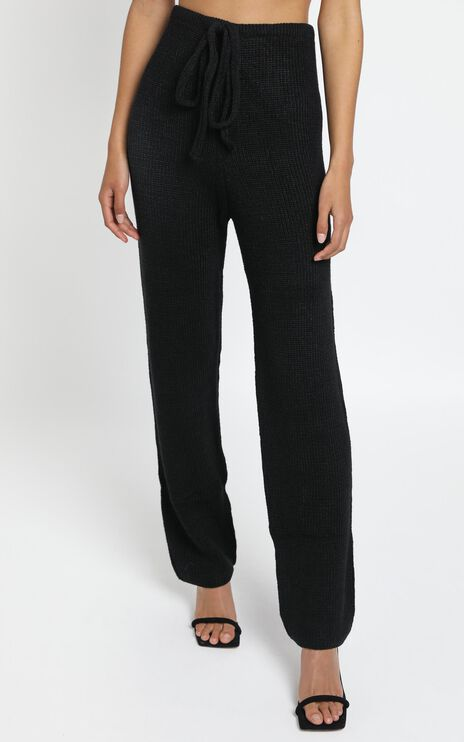 Luxe Lounge Knit Trouser in Black