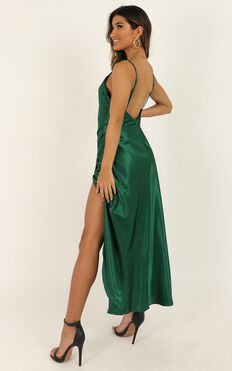 Army Of One Dress In Emerald Green Satin