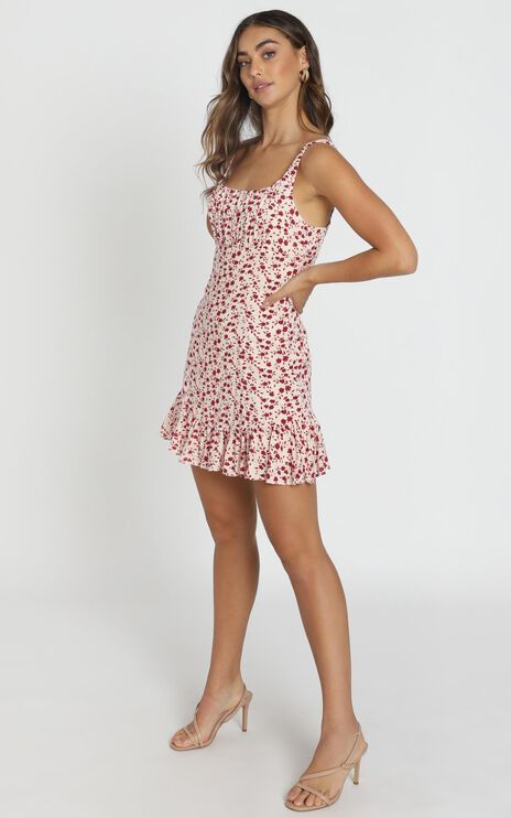 Farrah Gather Bust Mini Dress in Red Floral