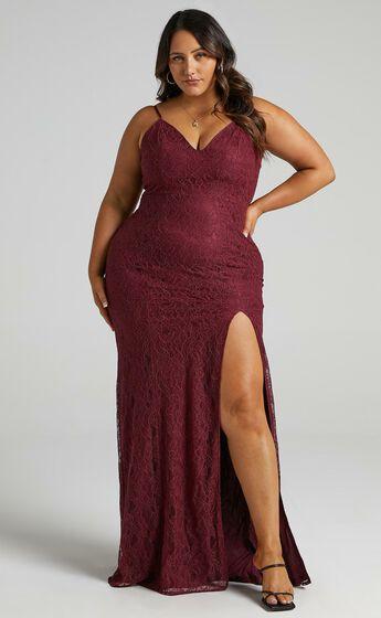 Always Extra Split Maxi Dress in Wine Lace