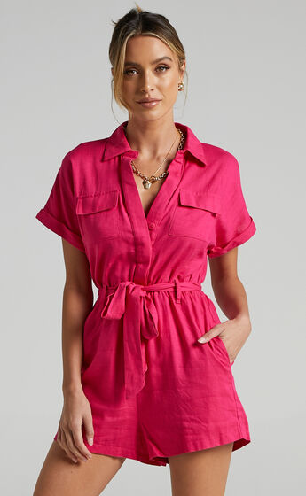 Zarina Belted Playsuit in Hot Pink