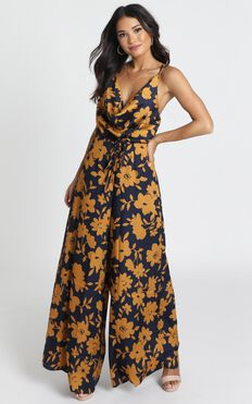 Genieve Jumpsuit In Navy Floral