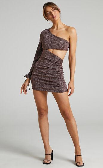 Kuti One Sleeve Asymmetric Mini Bodycon Dress in Chocolate Lurex