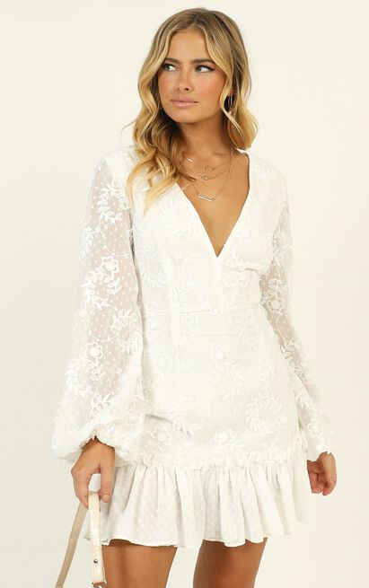 Lets Cheers For Love Dress in white embroidery - 16 (XXL), White, hi-res image number null