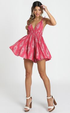 Irene Playsuit In Pink Paisley