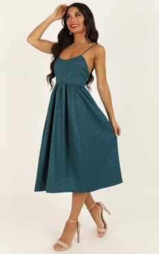 Entire Love Dress In Emerald Jacquard