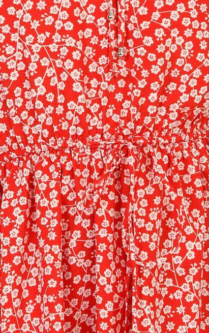 Fruit Picking dress in red floral - 12 (L), Red, hi-res image number null