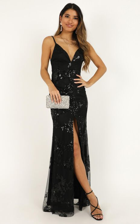 Long Line Of Love Dress In Black Sequin