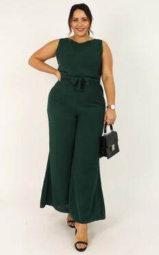 Leave Me In Paradise Jumpsuit In Forest Green