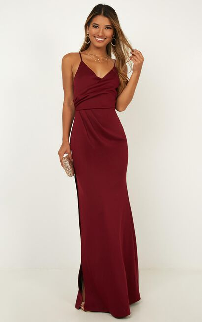 Linking Love Maxi Dress In Wine - 4 (XXS), Wine, hi-res image number null