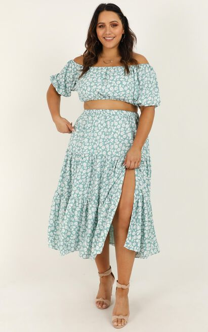 Distant Memory two piece set in sage floral - 20 (XXXXL), Sage, hi-res image number null